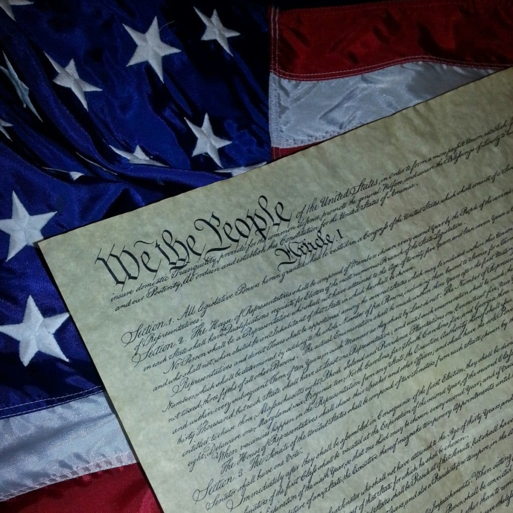 Flag with U.S. Constitution
